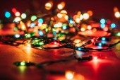 Fotografie Shining colourful garlands as christmas background