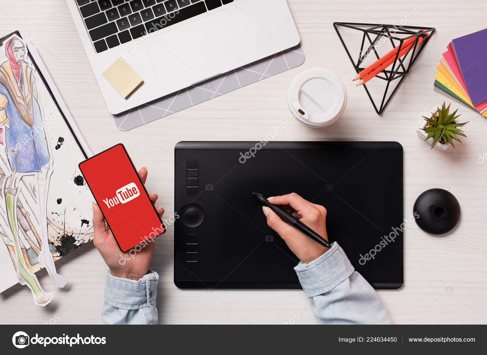 Cropped View Designer Using Graphics Tablet Pen Smartphone