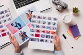 Fotografie kancelářský stůl s oříznutý pohled Návrhář, grafiky a notebook, rovný ležela