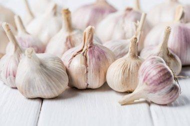 bulbs of garlic on white rustic wood table