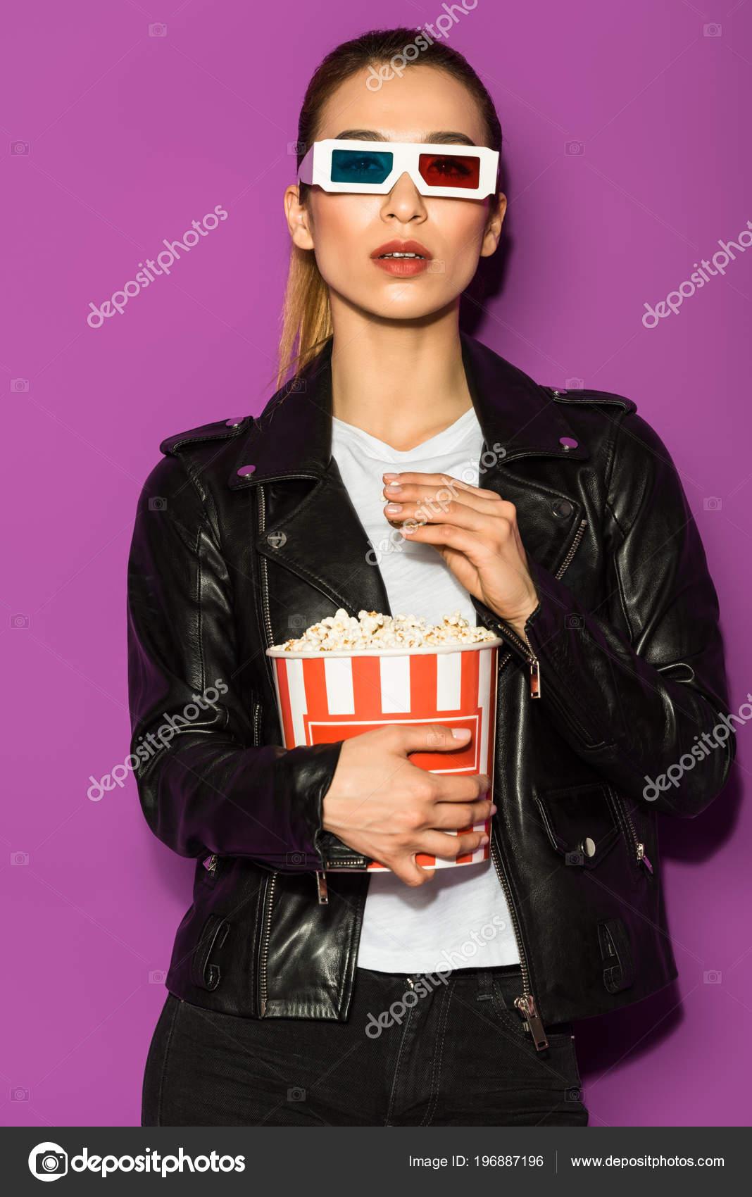 3D Asian Girl beautiful asian girl leather jacket glasses eating popcorn