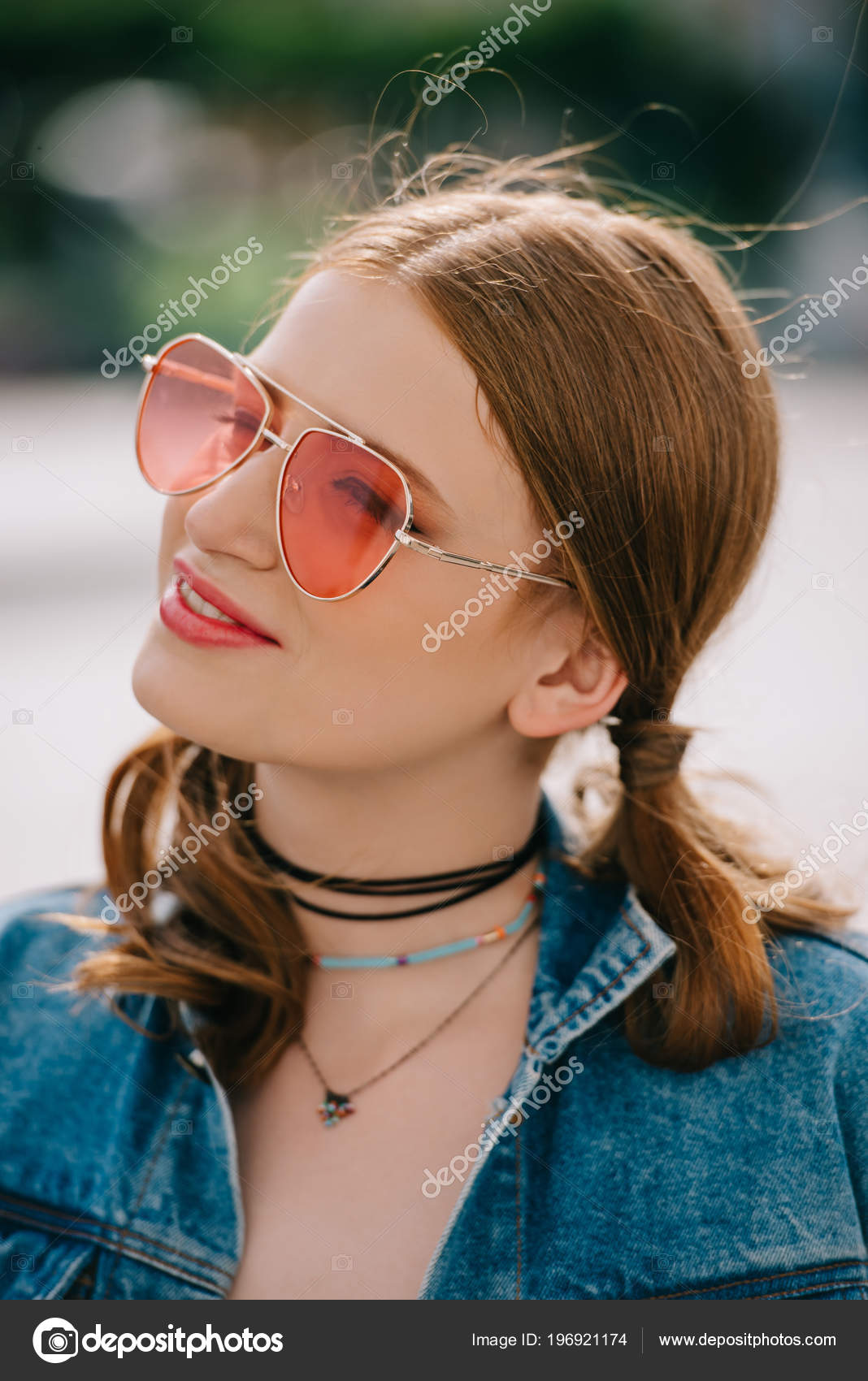 d846f943a0 Portrait Beautiful Smiling Girl Sunglasses Denim Jacket Looking Away  Outdoors — Stock Photo
