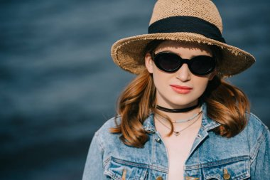 Portrait of beautiful stylish young woman in hat and sunglasses looking at camera stock vector