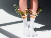 Fotografie oříznuté snímek dívky nádherné květy v ponožkách na šedá
