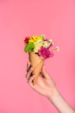 close-up partial view of woman holding ice cream cone with beautiful flowers isolated on pink