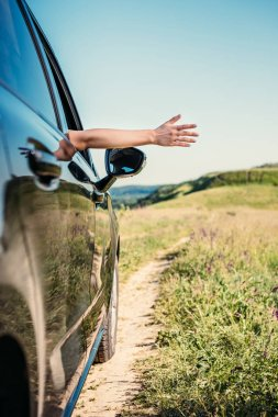 cropped shot of woman leaning out hand from car window in rural field