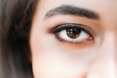close up shot of eye of mixed race woman