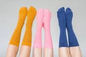 oříznuté záběr ženské nohy v různých barevných ponožek izolované na šedém pozadí