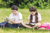schoolchildren doing homework together while sitting on grass in park