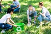 Junge Freiwillige reinigen Park mit Recyclingboxen