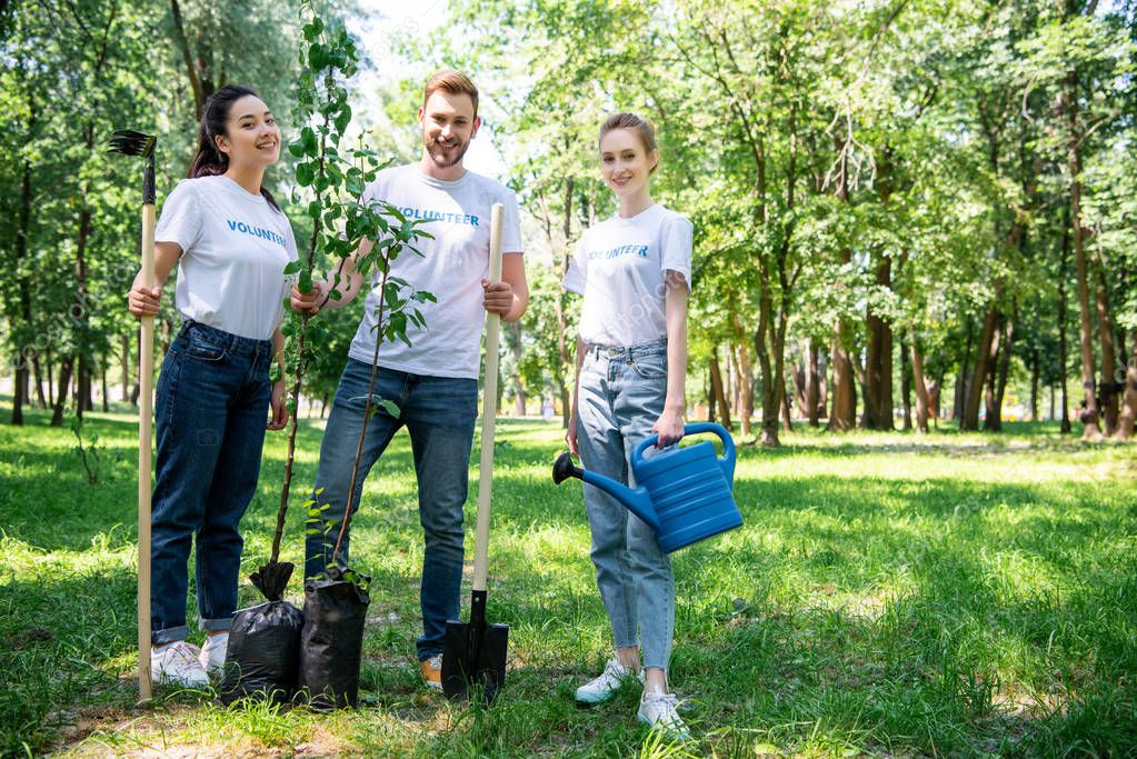 young smiling volunteers with new trees, rake, watering can and shovel standing in green park