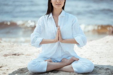 Cropped image of woman in anjali mudra (salutation seal) pose on beach by sea stock vector