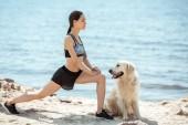 Fotografie Seitenansicht des asiatischen Sportlerin tut stürzt sich in der Nähe von golden Retriever am Strand