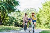 Fotografie mladý pár koních retro kola v parku v letním dni