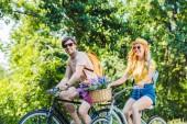 Fotografie šťastný pár koních retro kola v parku v letním dni