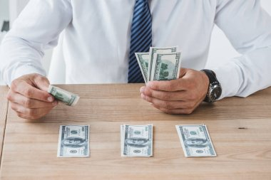 Cropped image of business adviser counting dollar banknotes on table in office stock vector