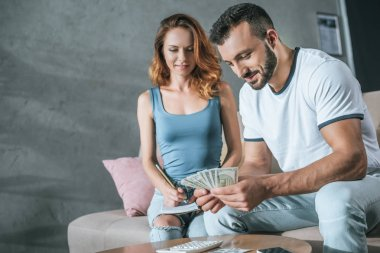 couple planning family budget and counting money in living room
