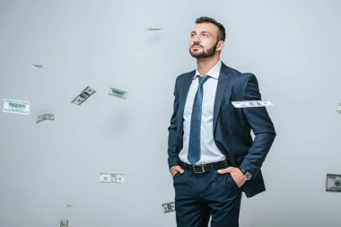 handsome financier looking at falling dollars isolated on grey