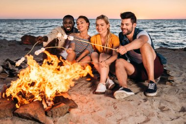 happy young multiethnic friends roasting marshmallows at bonfire on sandy beach at sunset
