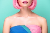 Fotografie cropped shot of young woman with pink bob cut isolated on turquoise