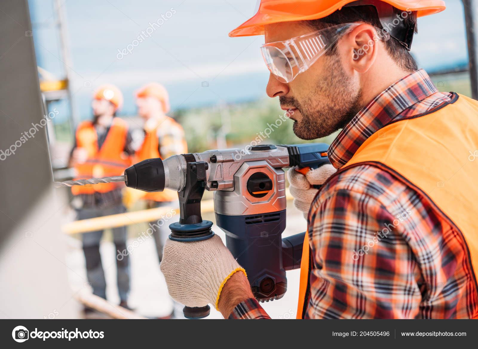 side view builder protective helmet eyeglasses using power drill