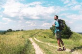 Photo handsome traveler with backpack walking on green meadow with beautiful sky