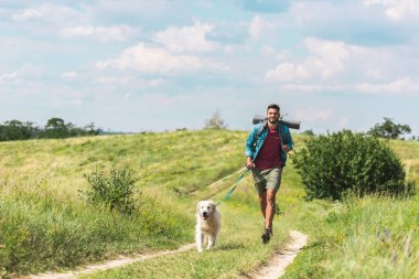 traveler running with dog on path on summer meadow