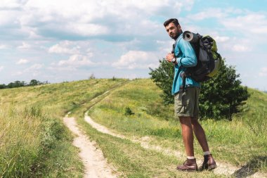 handsome hiker with backpack walking on green meadow