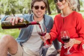 šťastný kluk nalévání červeného vína v brýle v parku