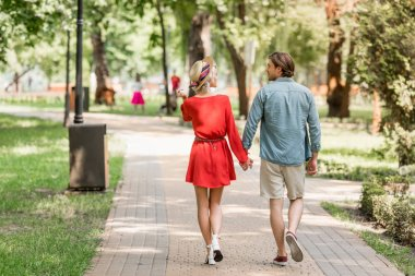 back view of girlfriend and boyfriend walking together in park and looking at each other