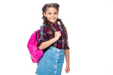 schoolchild with pink backpack looking at camera isolated on white
