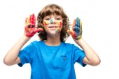 Fotografie funny schoolboy showing painted hands with smiley icons isolated on white