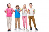 Fotografie friends showing painted hands with smiley icons isolated on white