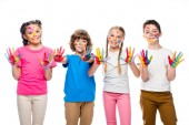 Photo schoolchildren showing painted hands with smiley icons isolated on white