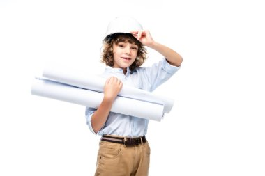 schoolboy in costume of architect and helmet holding blueprints isolated on white