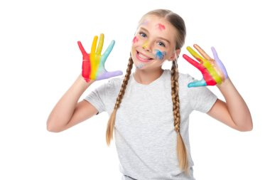 Smiling schoolchild showing colored painted hands isolated on white stock vector