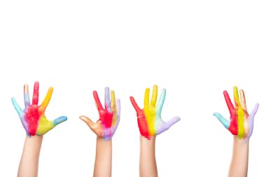 Cropped image of schoolchildren showing painted colorful hands isolated on white stock vector