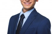 Photo cropped shot of smilin young businessman in blue jacket isolated on white