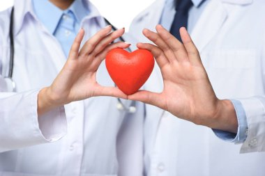 Partial view of two doctors holding red heart in hands, isolated on white stock vector
