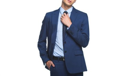 Cropped shot of young businessman in stylish blue jacket isolated on white stock vector