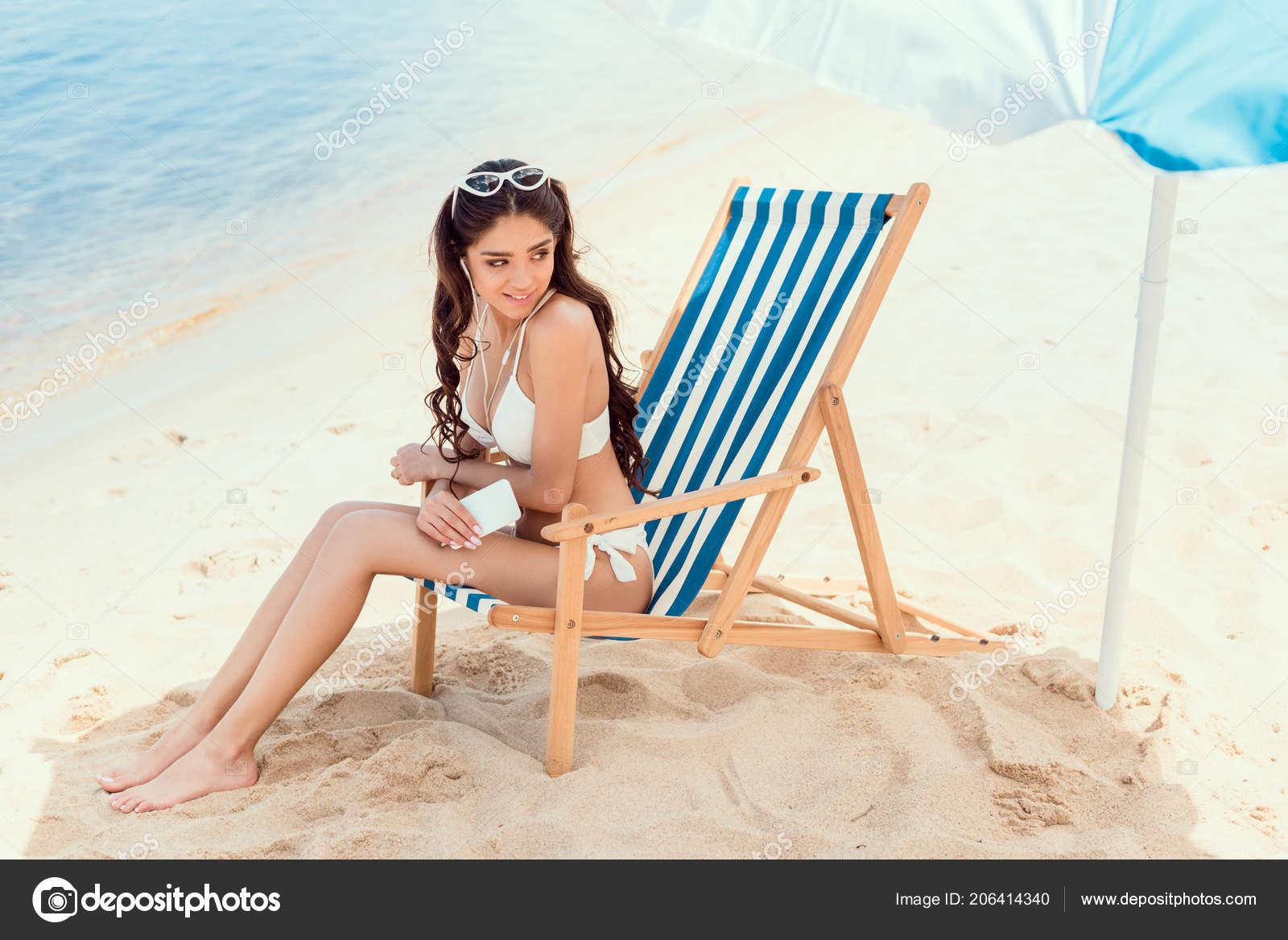 Happy Woman Smartphone Relaxing Beach Chair Sun Umbrella Sea Resort Stock Photo Image By C Allaserebrina 206414340