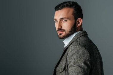 handsome confident man posing in tweed jacket, isolated on grey