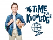 Fotografie schoolboy holding backpack and books isolated on white, with globe and time to knowledge lettering