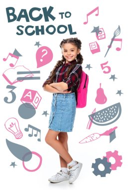 schoolchild with pink backpack standing with crossed arms isolated on white, with icons and