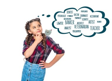 pensive schoolchild looking up at speech bubble with different professions, isolated on white