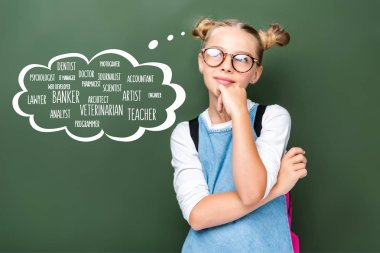 Pensive schoolchild in glasses looking up near blackboard with different professions in speech bubble stock vector