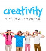 Fotografie schoolchildren having fun and showing painted hands with smiley icons isolated on white, with creativity - enjoy life while youre yong lettering