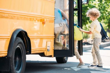 Group of little schoolboys entering school bus stock vector