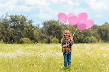 Smiling child with pink balloons standing in summer field stock vector