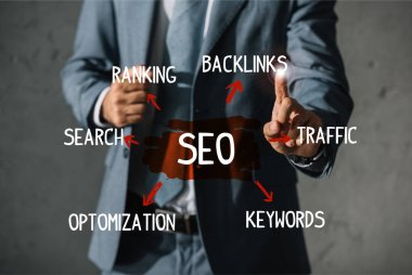 cropped view of developer in formal wear pointing at SEO ideas and plan